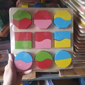 Bảng học hình dạng và chia phần Montessori