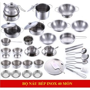 Bộ đồ chơi nấu ăn bằng Inox (40 chi tiết, chất liệu an toàn)