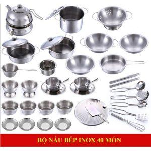 Bộ đồ chơi nấu ăn bằng Inox (40 chi tiết, chất liệu an toàn)