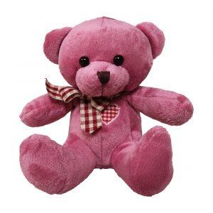 Đồ chơi gấu bông trơn cổ nơ kẻ dễ thương