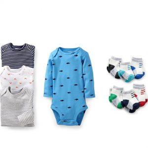Set 4 áo Bodysuit kèm 6 tất Cater's bé trai (Từ 0 – 12m, Hàng xuất dư xịn)