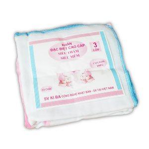 Set 10 chiếc khăn xô sữa Kiba 3 lớp siêu mềm