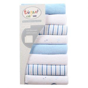 Set quà 8 khăn mặt cho bé Elegant Kids xanh