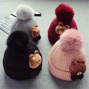 Mũ len quả bông hình gấu loại 1