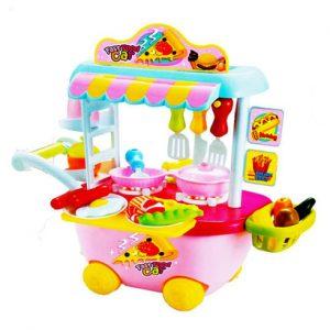 Bộ đồ chơi nấu ăn trên xe bé gái