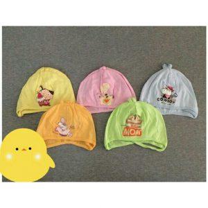 Mũ cotton buộc dây dành cho bé sơ sinh