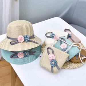 Set mũ cói+túi (Cho bé từ 2-10 tuổi)