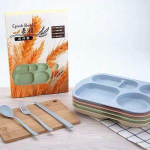 Khay cơm lúa mạch 6 chi tiết cho bé
