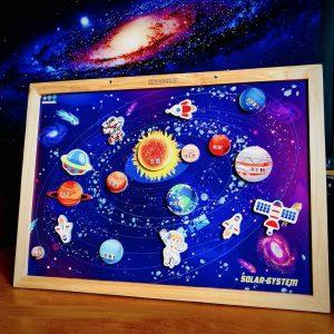 Bộ đồ chơi xếp hình hệ mặt trời bằng gỗ cao cấp (hàng Poomko khổ A3)